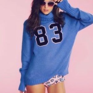 Wildfox Couture 83 Blue Seattle Turtleneck Sweater